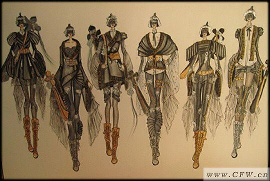 作品灵感来源于秦代战士的盔甲,用秦代崇尚的黑色为主色,运用解构的设计手法将中国古代的袍服进行重构,结合现代的摇滚精神,表现粗旷,放荡不羁,勇敢的英雄主义精神。