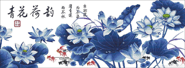 主要取决于市场流行图案,青花瓷一直受大众喜好,用出淤泥而不染的荷花做元素,采用青花瓷的色彩。